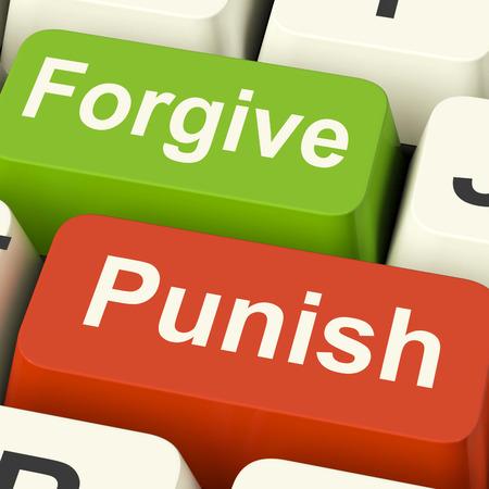 pardon: Punish Forgive Keys Showing Punishment or Forgiveness