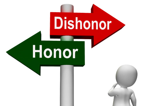 disgrace: Dishonor Honor Signpost Showing Integrity And Morals