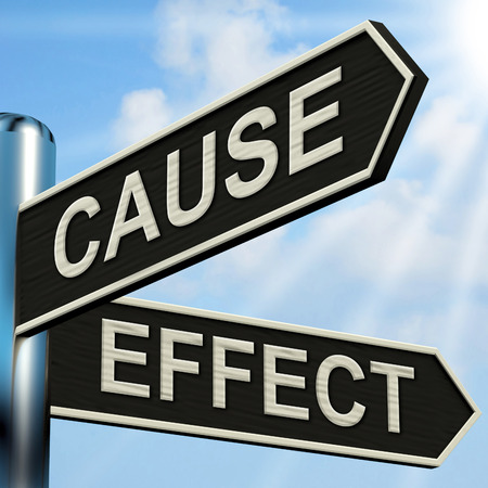 Cause And Effect Signpost Meaning Results Of Actions 스톡 콘텐츠