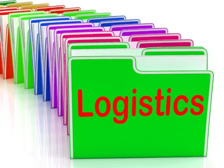 coordination: Logistics Folders Meaning Planning Organization And Coordination Stock Photo