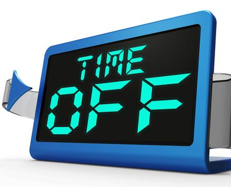 time off: Time Off Clock Showing Holiday From Work Or Study