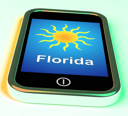 sunshine state: Florida And Sun On Phone Meaning Great Weather In Sunshine State