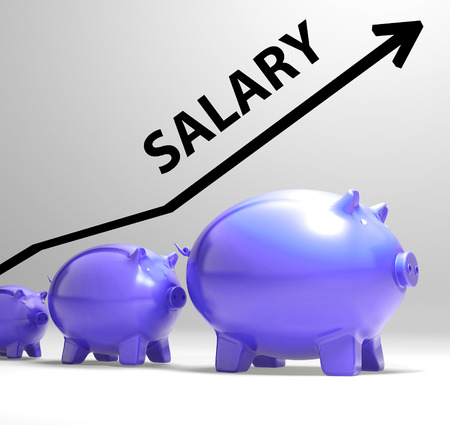 salaried worker: Salary Arrow Showing Pay Rise For Workers Stock Photo