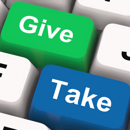 egoista: Dale Keys Tome Mostrando generoso y ego�sta Foto de archivo