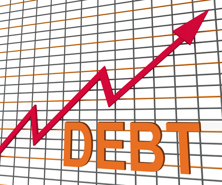 indebted: Debt Graph Chart Showing Increase Financial Indebted