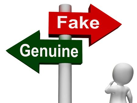 faked: Fake Genuine Signpost Meaning  Authentic or Faked Product Stock Photo