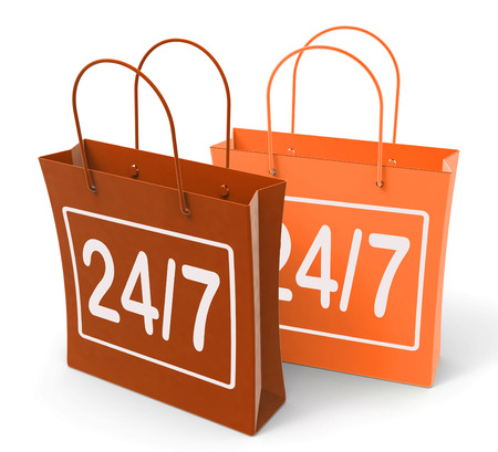 24x7: Twenty-four Seven Bags Showing Hours Open