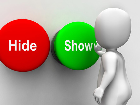 Hide Show Buttons Meaning Seek Find Look Discover Stock Photo - 26236531