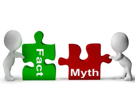 Fact Myth Puzzle Showing Facts Or Mythology