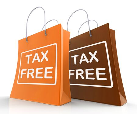 exempt: Tax Free Bags Showing  Duty Exempt Discounts Stock Photo