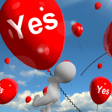 affirmative: Yes Balloons Meaning Certainty and Affirmative Approval Stock Photo