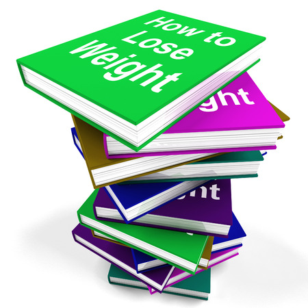 How To Lose Weight Book Stack Showing Weight loss Diet Advice Stock Photo