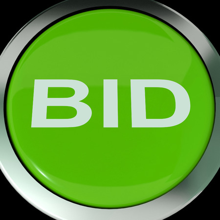 bid: Oferta Button Mostrando subasta o licitaci�n Online Foto de archivo