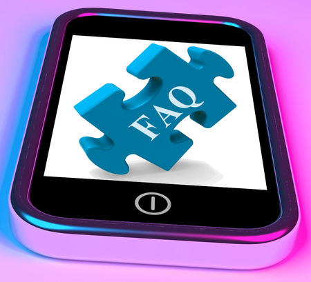 inquiries: FAQ Smartphone Showing Frequently Asked Questions And Answers