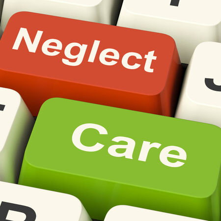 careful: Neglect Care Keys Showing Neglecting Or Caring