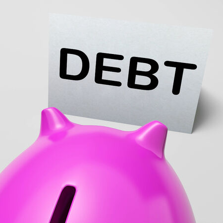 obliged: Debt Piggy Bank Meaning Loan Arrears And Paying Off