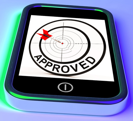 sanctioned: Approved Smartphone Showing Accepted Authorised Or Endorsed Stock Photo
