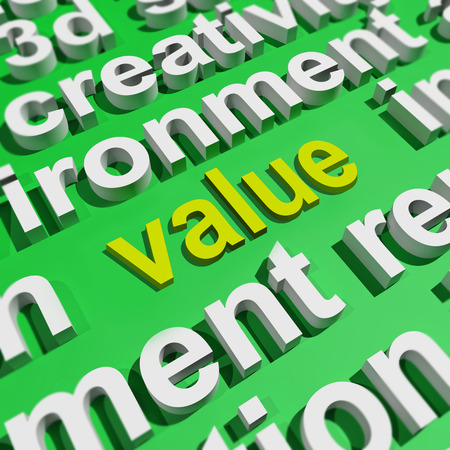 valued: Value In Word Cloud Showing Worth Importance Or Significance Stock Photo