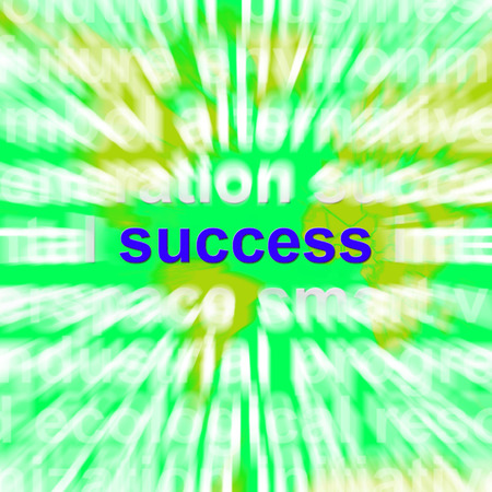 prevail: Success Word Cloud Showing Winning Succeed Triumph And Victories