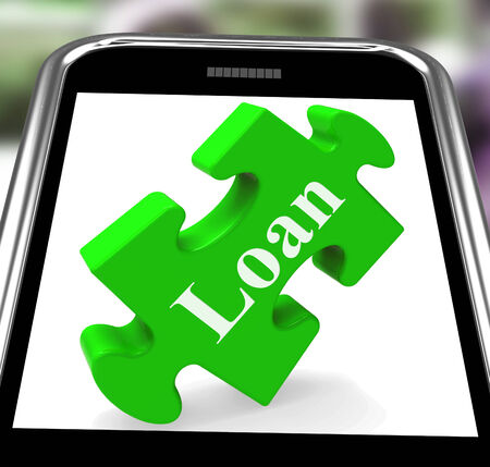 Loan Smartphone Showing Credit Or Borrowing On Internet Stock Photo - 26416874
