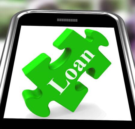 borrowing: Loan Smartphone Showing Credit Or Borrowing On Internet