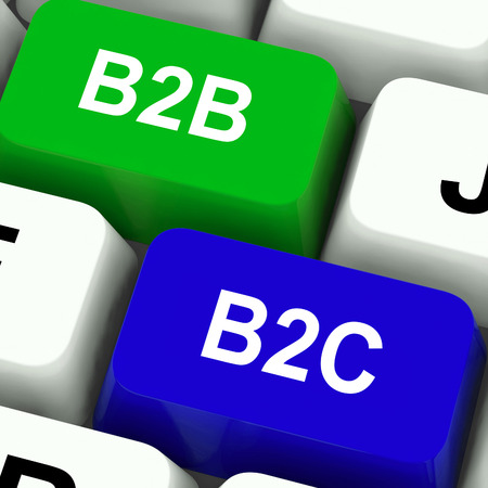 sell online: B2B And B2C Keys Meaning Business Partnerships Or Consumer Relations Stock Photo