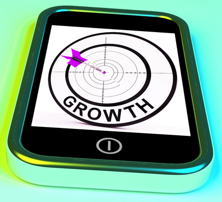 advancement: Growth Smartphone Showing Expansion And Advancement Through Internet
