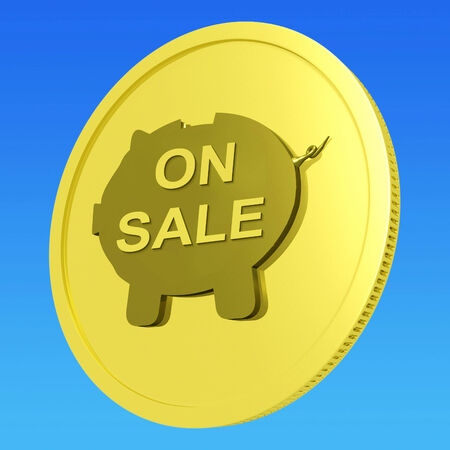 specials: On Sale Coin Meaning Specials Promos And Cheap Products Stock Photo