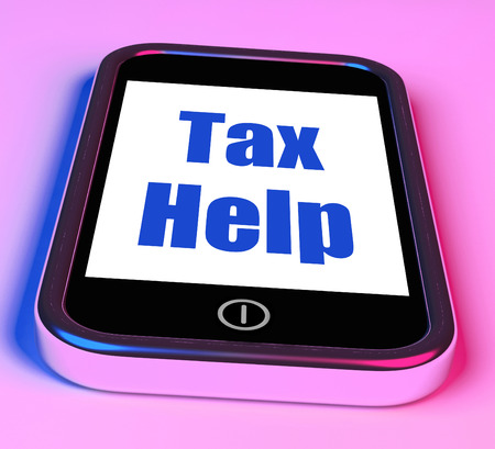 excise: Tax Help On Phone Mostrando tassazione Consigli online Archivio Fotografico