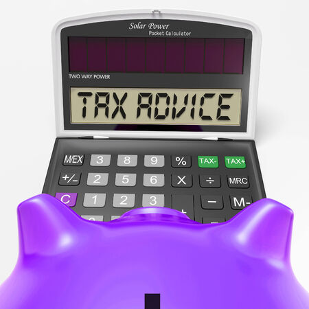 exemption: Tax Advice Calculator Showing Assistance With Taxes Stock Photo
