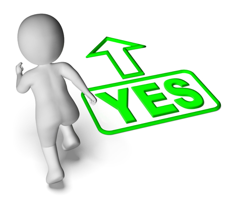 affirm: Yes And 3D Character Showing Affirm Agree Ok