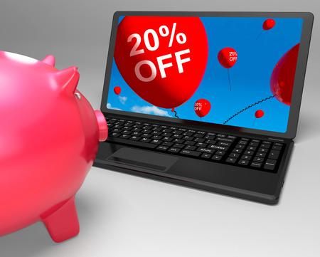 discounted: Twenty Percent Off Laptop Meaning Online Products Discounted 20
