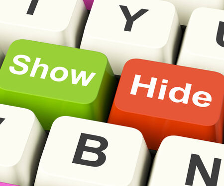 'hide out': Show Hide Keys Meaning On Display And Out Of Sight