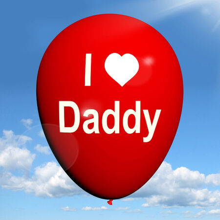 with fondness: I Love Daddy Balloon Showing Feelings of Fondness for Father Stock Photo