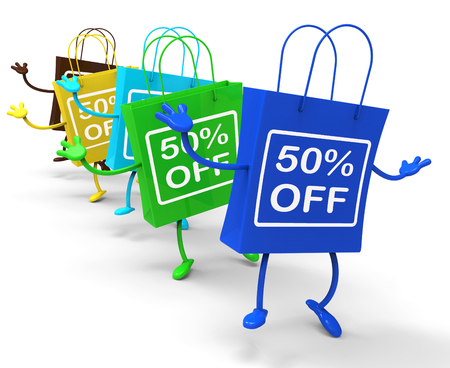 per cent: fifty Percent Off On Colored Shopping Bags Showing Bargains