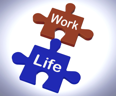 work life balance: Work Life Puzzle Showing Balancing Job And Relaxation