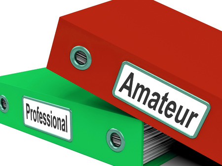 beginner: Amateur Professional Folders Meaning Beginner And Expert Stock Photo