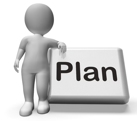 Plan Button With Character Showing Objectives Planning And Organizing photo