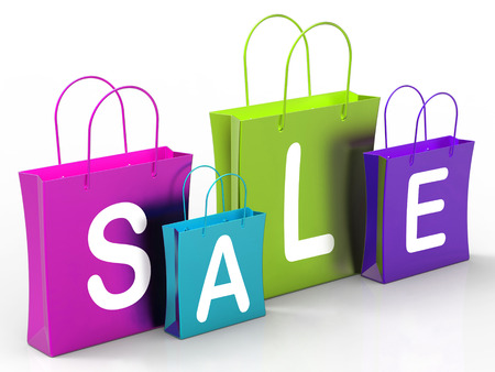 markdown: Sale On Shopping Bags Showing Bargains And Promotion Stock Photo