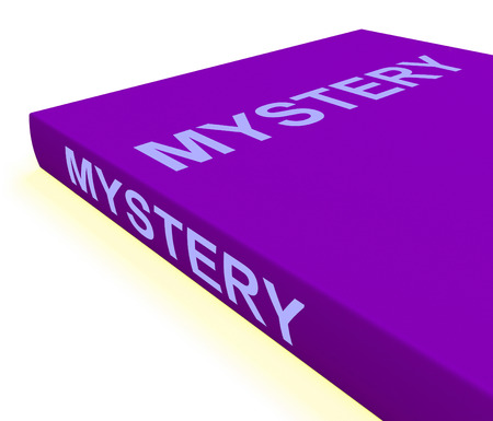 puzzling: Mystery Book Showing Fiction Genre Or Puzzle To Solve Stock Photo