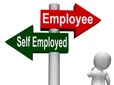 selfemployed: Employee Self Employed Signpost Meaning Choose Career Job Choice Stock Photo