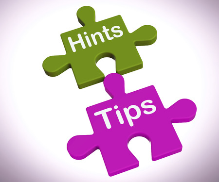 hints: Hints Tips Puzzle Showing Suggestions And Assistance Stock Photo