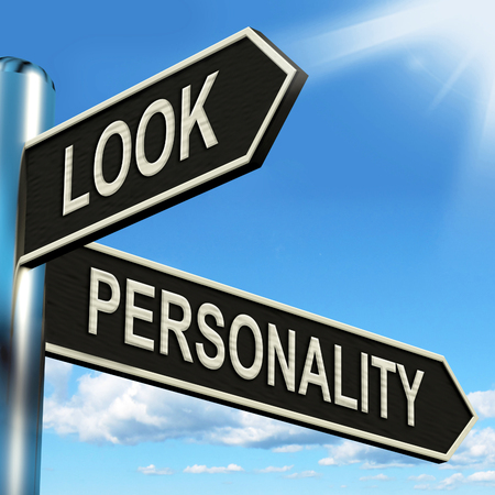 inner beauty: Look Personality Signpost Showing Appearance And Character
