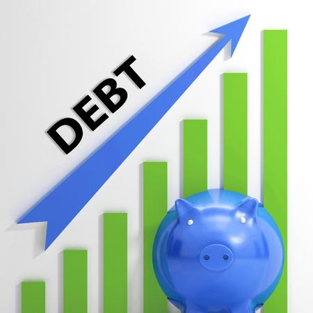 tomar prestado: Gr�fico de Deuda Mostrando Bills de d�ficit y endeudamiento Foto de archivo