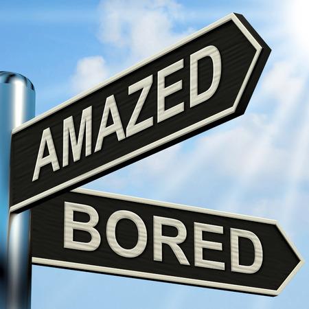 Amazed Bored Signpost Showing Dull And Amazing Stock Photo
