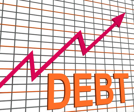 indebted: Debt Graph Chart Showing Increasing Financial Indebted Stock Photo