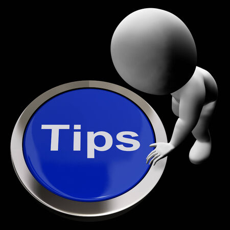 suggestions: Tips Button Meaning Suggestions Pointers And Guidance Stock Photo