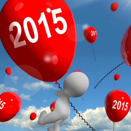 fifteen: Two Thousand Fifteen on Balloons Showing Year 2015