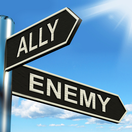 Ally Enemy Signpost Showing Friend Or Adversary