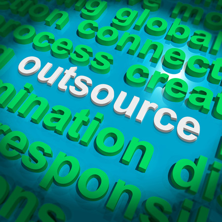 freelancing: Outsource Word Cloud Showing Subcontract And Freelance